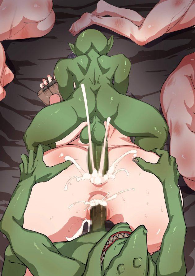 【エロ同人誌】一人で森に入った村娘がゴブリンに襲われて捕まって、孕み袋にされたり悪戯でアナルを犯されたり…!【無料 エロ漫画】 (43)