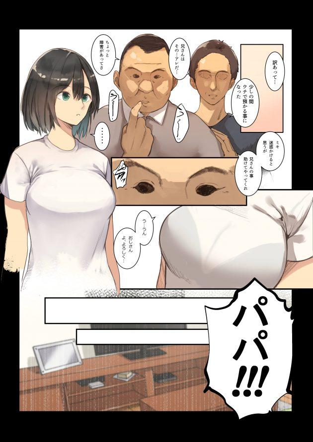【エロ同人誌】JKが何度もセクハラしてくる知的障害の叔父と家で二人きりで居たらいつも以上に襲ってきて…!【無料 エロ漫画】 (9)